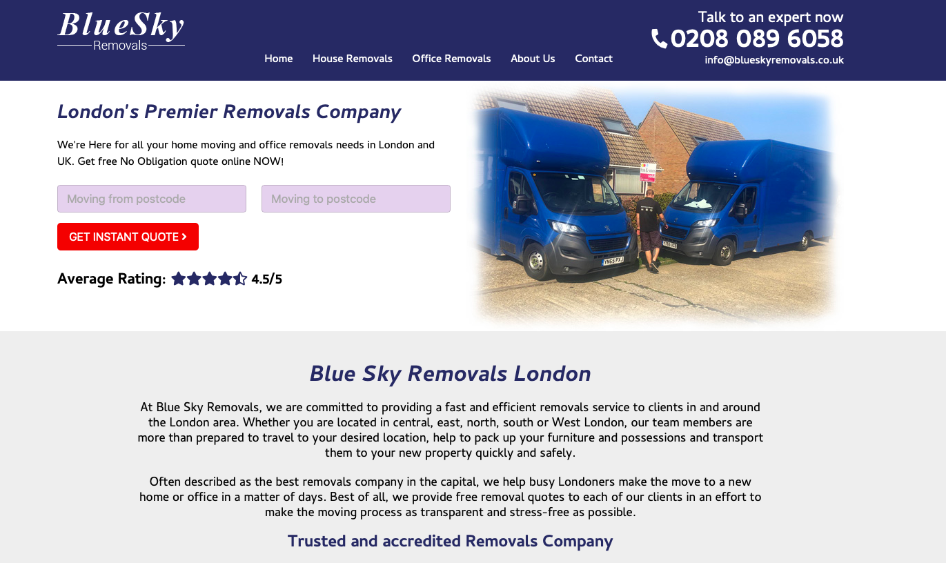 blue sky removals homepage screenshot