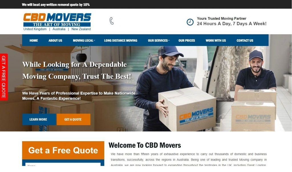 cbd movers uk homepage