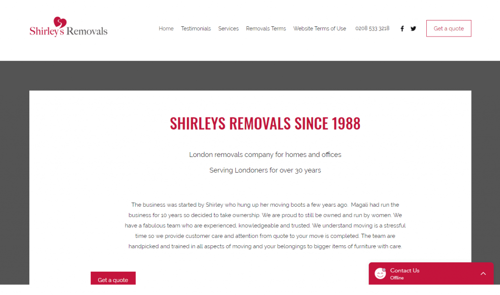 shirleys removals homepage